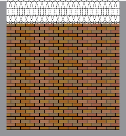 brick wall with barbed wire Vector