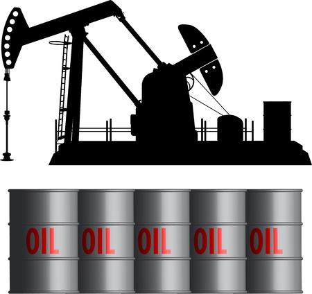 oil field and barrels Vettoriali
