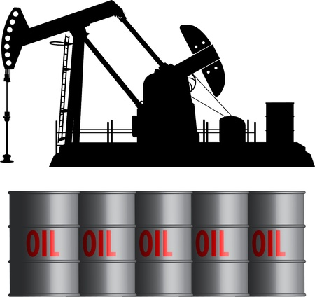 oil field and barrels Vector