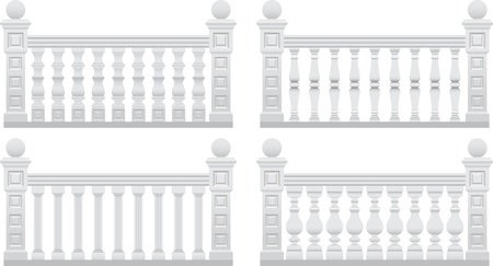 cracked wall: fence with stone pillars Illustration