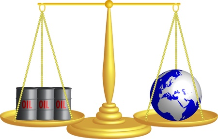 tax attorney: balance of oil and the planet Earth Illustration
