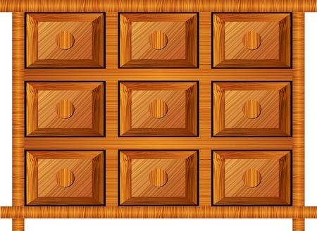 gran angular: gabinete de madera para objetos peque�os