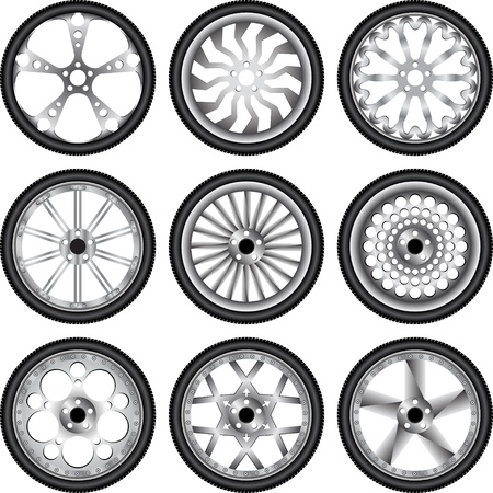 wheels with rubber Vector