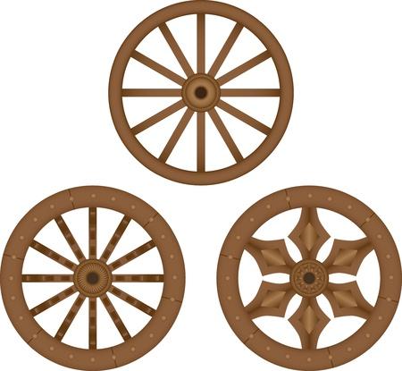 ностальгический: Старые деревянные колеса Иллюстрация
