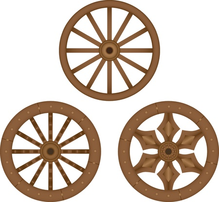 wagon wheel: Old wooden wheels Illustration