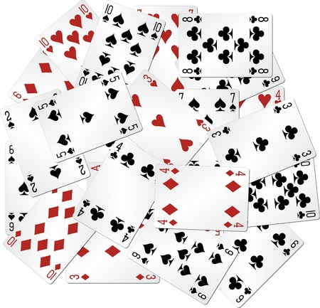 poker cards: mixed playing cards