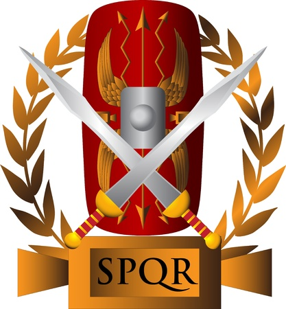 shield logo: Roman symbol