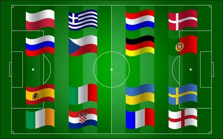 Euro 2012 voetbalveld en vlag Stock Illustratie