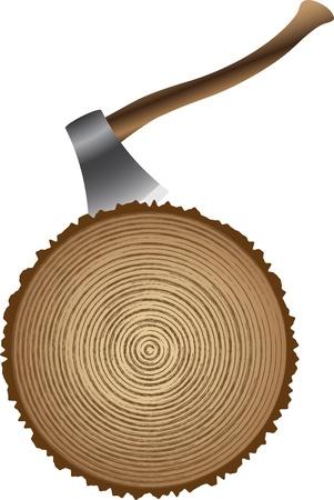 wooden work: il taglio di legno con un'ascia Vettoriali