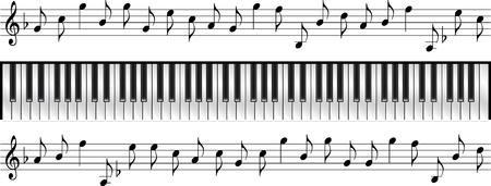 piano keyboard standard 88 key  Ilustração