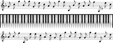 piano key: piano keyboard standard 88 key  Illustration