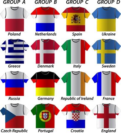 Euro 2012 overhemd deelnemen aan groepen