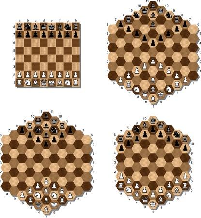 strategic position: various chess table Illustration