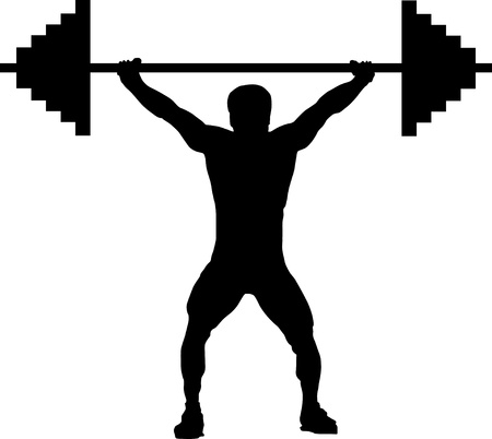 man lifting weights: weightlifting silhouette Illustration