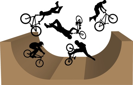 stunt: cycling bmx silhouette Illustration