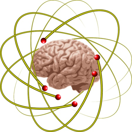 atomic symbol: brain scientists Illustration