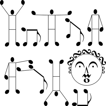 musical notes as a man and dog Vector