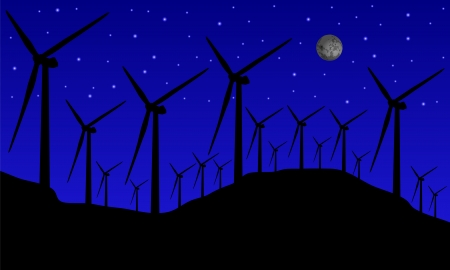 windmills at night Vector