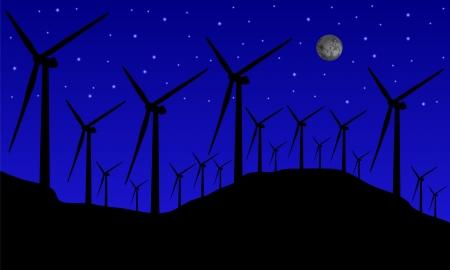 manipulated: windmills at night