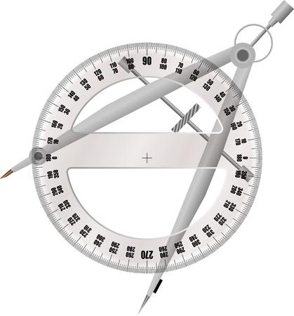 diameter: goniometro e compasso Vettoriali