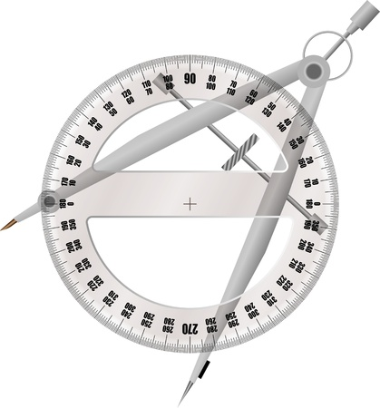 protractor and compass Vector