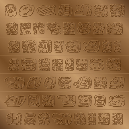 old writing: Maya Glyph Illustration