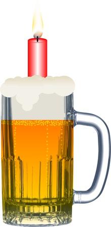 Happy birthday beer drinkers Illustration
