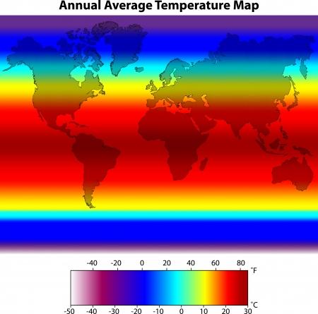 Annual Average Temperature Map Stock Vector - 16385272