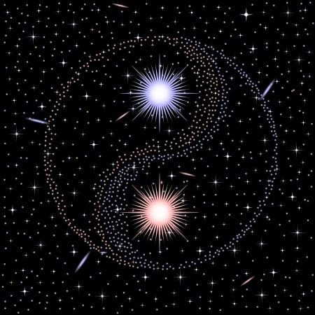 yin y yang: Estrella yin yang Vectores