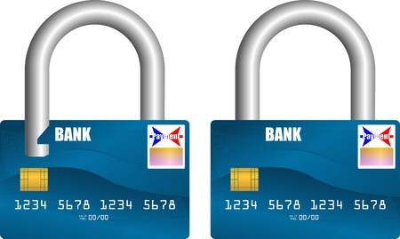 electronic transaction: bank card unlocked and locked