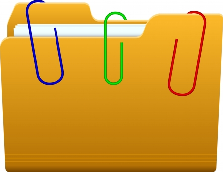 folder with paperclip Stock Vector - 17967789