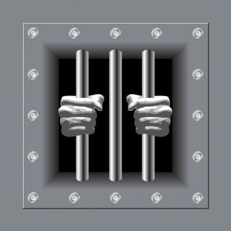 Barrotes de la prisión con sus manos