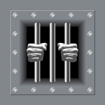 man in jail: Prison bars with his hands