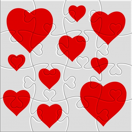 heart puzzle with a picture of the heart Vector