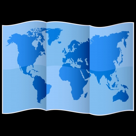 World map on folded paper Vector