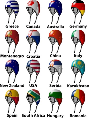 ball on water: water polo caps with flags