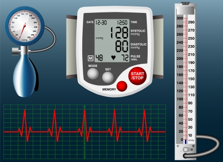 blood pressure monitor: Sphygmomanometer Illustration