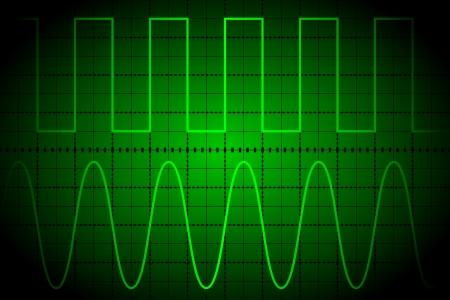 oscilloscope: Schermo di oscilloscopio digitale Vettoriali