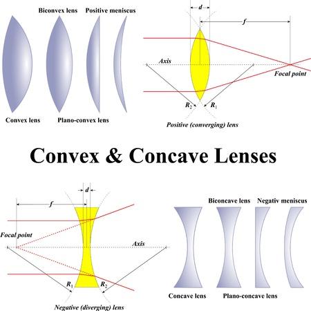 Convex & Concave Lenses Vettoriali