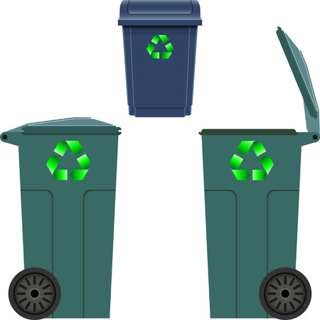 garbage tank: Plastic trash can Illustration