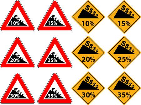 削減: 交通標識としての低価格化  イラスト・ベクター素材