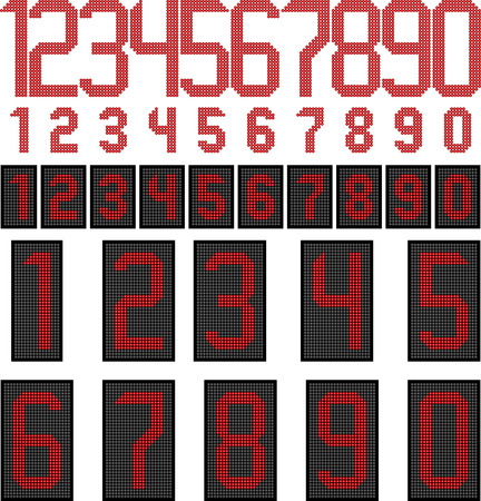 LED display numbers Vector