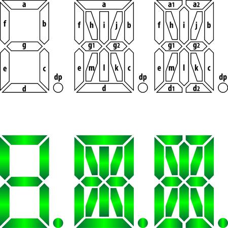 Segmental labeling for 7-, 14-, and 16-segment displays