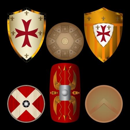Shields uit de Middeleeuwen zwart Stock Illustratie