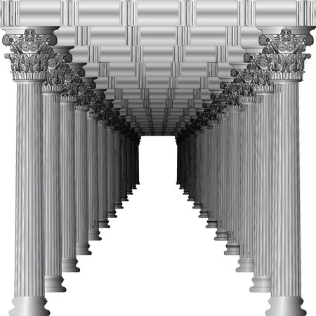 Entrance to a Greek temple in perspective