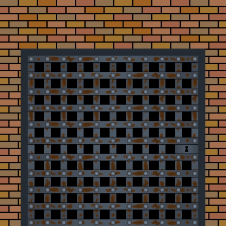 incarceration: Old prison door in the wall Illustration