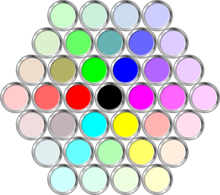 paint tin: Cans of paint in the hexagonal Illustration