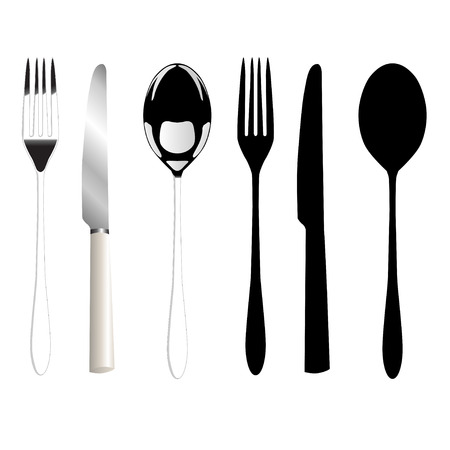 place setting: Fork, knife and spoon