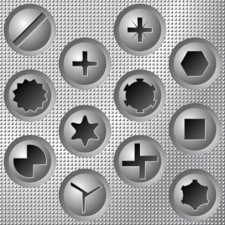 tornillos: Cabezas de los tornillos fijados