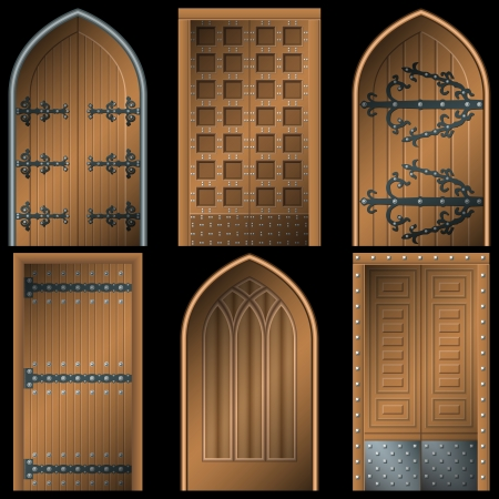 double entry: Door to the Middle Ages on a black background